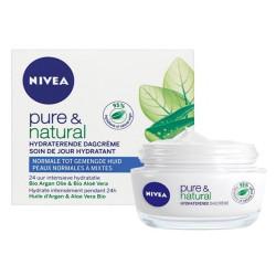 Nivea - Soin de Jour Hydratant PURE ET NATURAL - Peaux Normales à Mixtes 50 ml