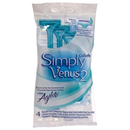 Gillette - 4 Rasoirs Jetables SIMPLY VENUS 2