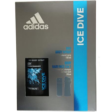 Adidas - Coffret Déodorant Spray 150Ml - Gel Douche Shampoing Nettoyant Visage 250Ml ICE DIVE