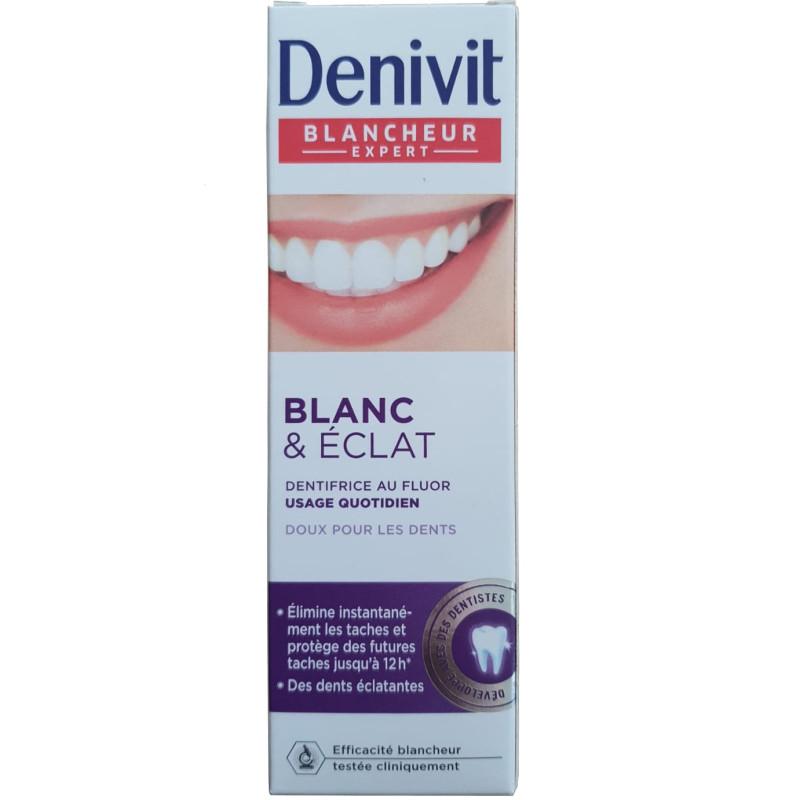 Denivit - Dentifrice au Fluor Blanc et Eclat BLANCHEUR EXPERT - Tube 50 ml