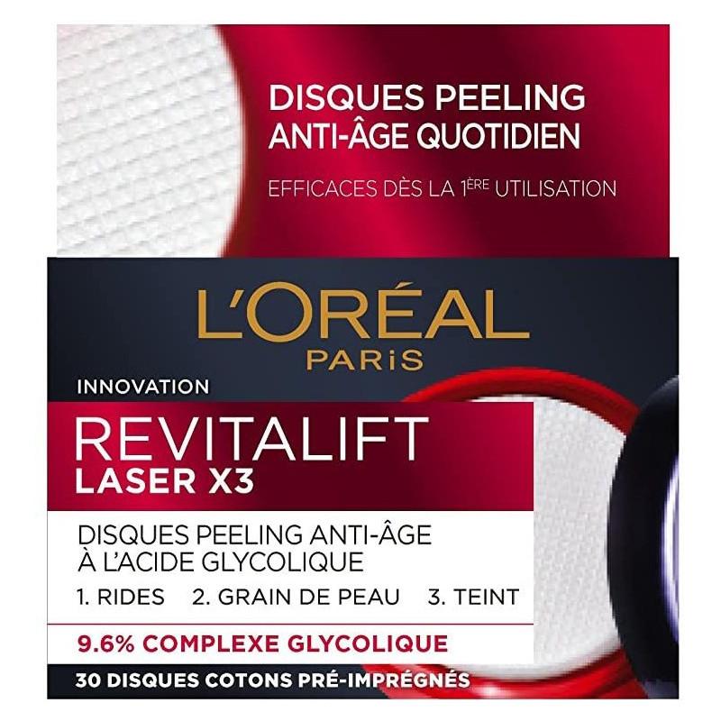 L'Oréal Paris - Disques Peeling Anti-Âge Laser x3 REVITALIFT - Acide Glycolique