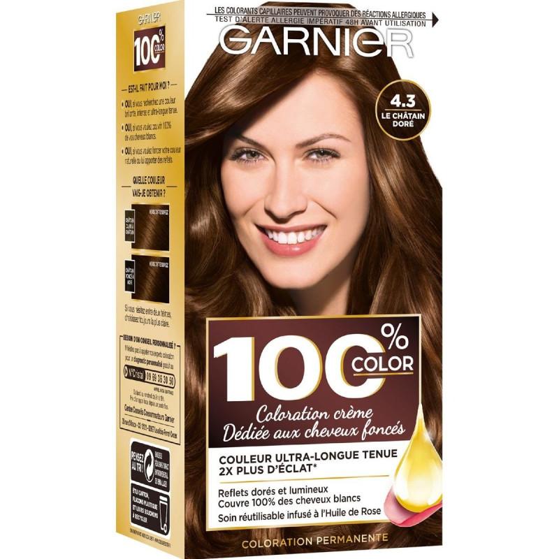 Garnier - Coloration Permanente 4.3 Le Châtain Doré 100% COLOR