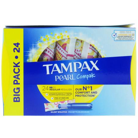 Tampax - Tampons Applicateurs Réguliers PEARL COMPAK - 24pcs