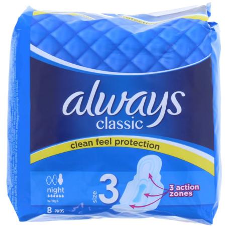 Always - Serviettes Hygiéniques 3 Action Zones CLASSIC Night - 8pcs