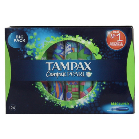 TAMPAX - Tampon COMPAK PEARL - Super - 24 Pièces