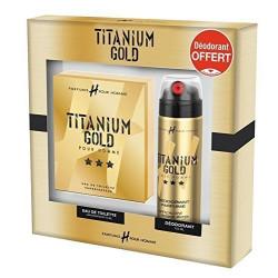 TITANIUM GOLD - Coffret Parfum H Pour Homme 75ml + Déodorant Parfumé 200ml