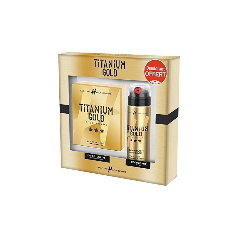 Titanium Gold Coffret Parfum H Pour Homme 75ml Déodorant Parfumé