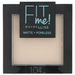 Maybelline New York - Poudre ton sur ton matifiante FIT ME MATTE & PORELESS - 104 Ivoire Rosé