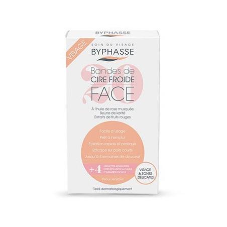 Byphasse - 20 Bandes de Cire Froide Visage et Zones Délicates + 4 Lingettes