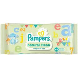 PAMPERS - Lingettes Pour Bébés NATURAL CLEAN - 64 lingettes