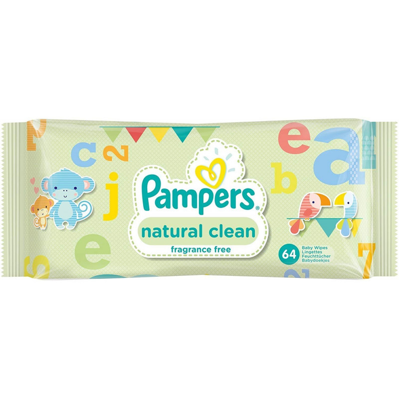 PAMPERS - Lingettes Pour Bébés NATURAL CLEAN - - 64 lingettes
