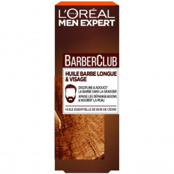 L'Oréal Paris - Huile Barbe Longue et Visage BarberClub MEN EXPERT - Huile Essentielle de Bois de Cèdre 30ML