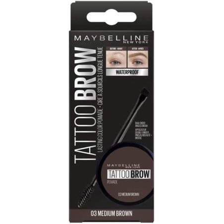 Maybelline New York - Cire à Sourcils Longue Tenue Pomade Waterproof TATTOO BROW - 03 Medium Brown 65g