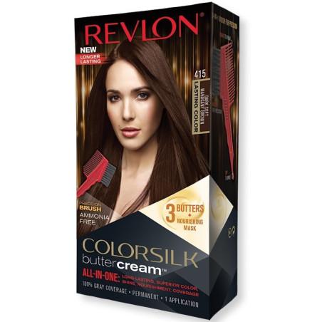 REVLON - Coloration Permanente Butter Cream COLORSILK - 415 Brun Acajou Doux Foncé