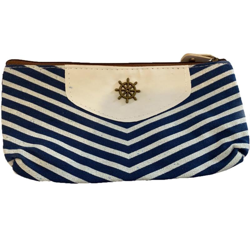 Trousse à Stylos de Style Naval en Canevas à Rayures - Fond Blanc + Rayure Bleue + Gouvernail