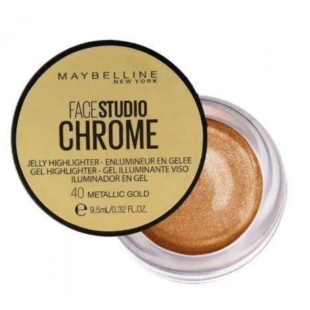 Maybelline New York - Enlumineur Gel FACE STUDIO CHROME - 40 Metallic Gold